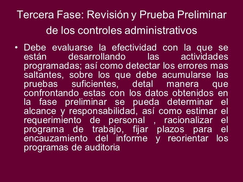 Tercera Fase: Revisión y Prueba Preliminar de los controles administrativos