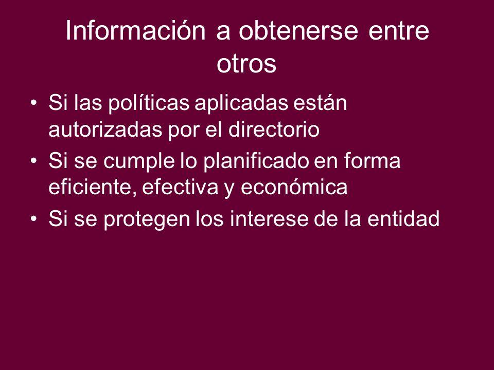 Información a obtenerse entre otros