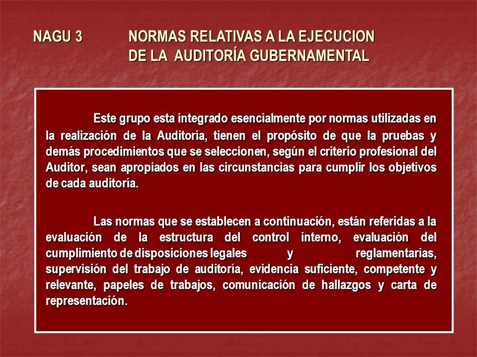 NAGU 3 NORMAS RELATIVAS A LA EJECUCION DE LA AUDITORÍA GUBERNAMENTAL