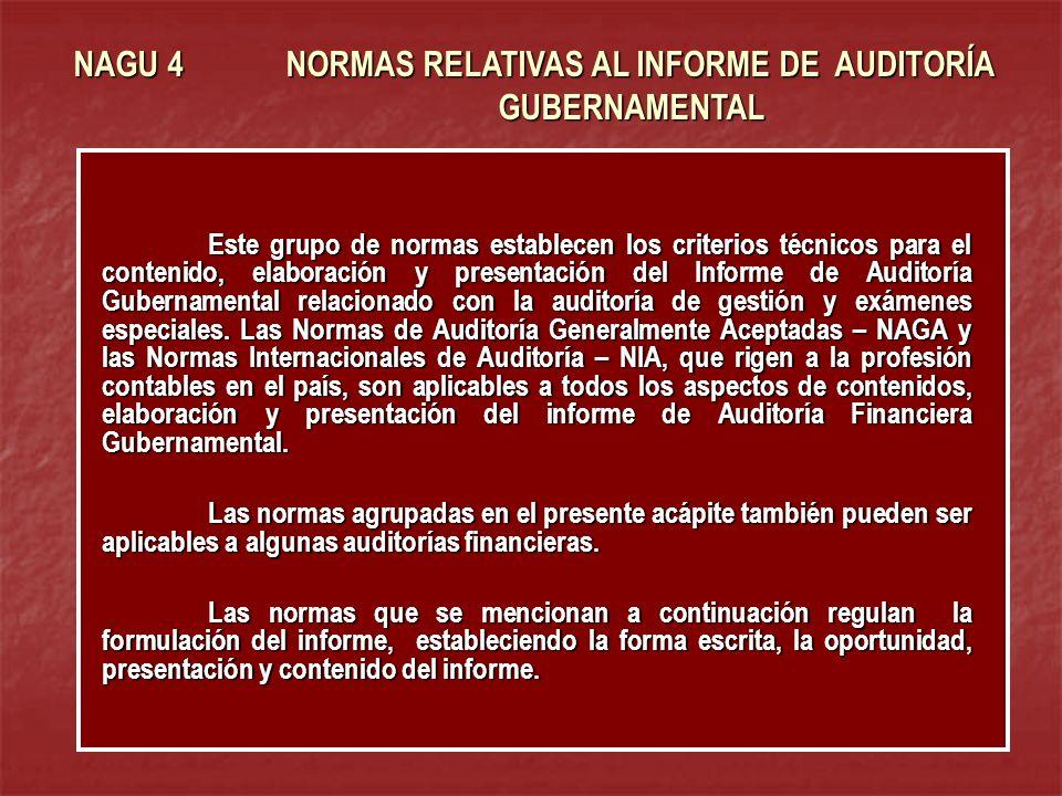 NAGU 4 NORMAS RELATIVAS AL INFORME DE AUDITORÍA GUBERNAMENTAL