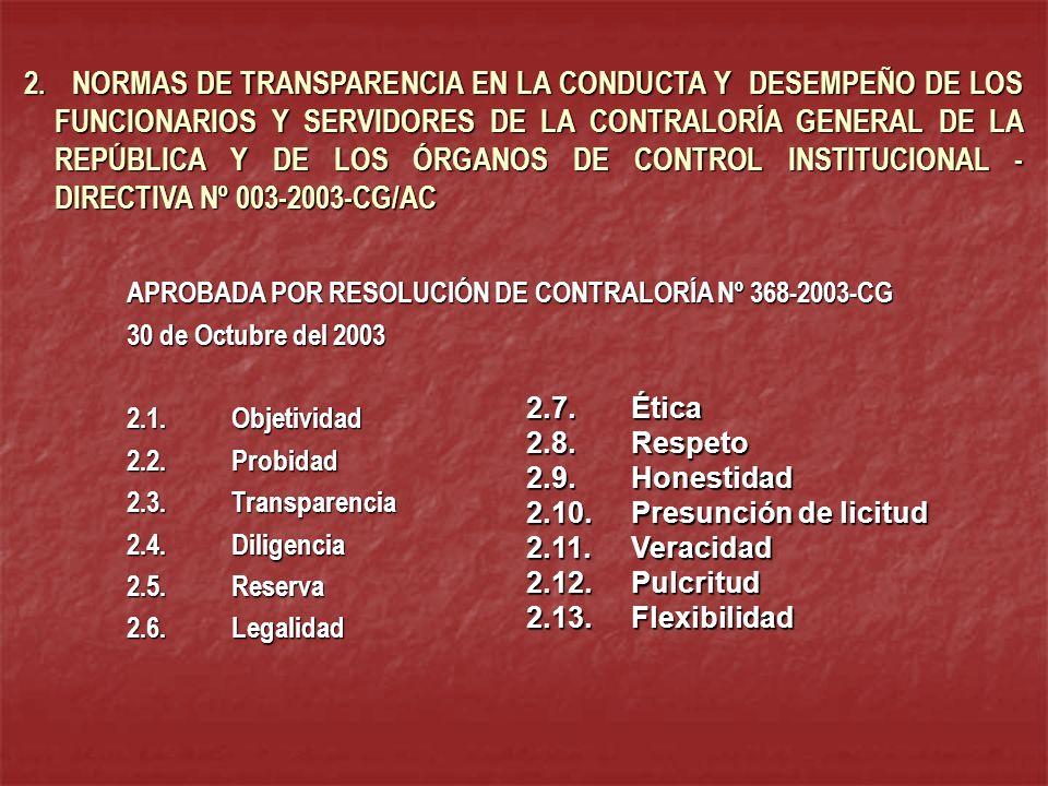 2. NORMAS DE TRANSPARENCIA EN LA CONDUCTA Y DESEMPEÑO DE LOS FUNCIONARIOS Y SERVIDORES DE LA CONTRALORÍA GENERAL DE LA REPÚBLICA Y DE LOS ÓRGANOS DE CONTROL INSTITUCIONAL - DIRECTIVA Nº 003-2003-CG/AC