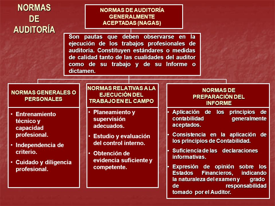 NORMAS DE AUDITORÍA NORMAS DE AUDITORÍA GENERALMENTE ACEPTADAS (NAGAS)