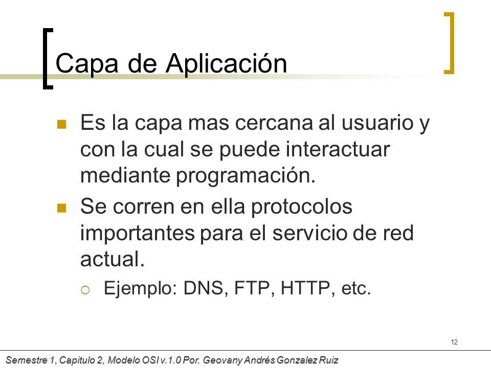 Capa de AplicaciónEs la capa mas cercana al usuario y con la cual se puede interactuar mediante programación.