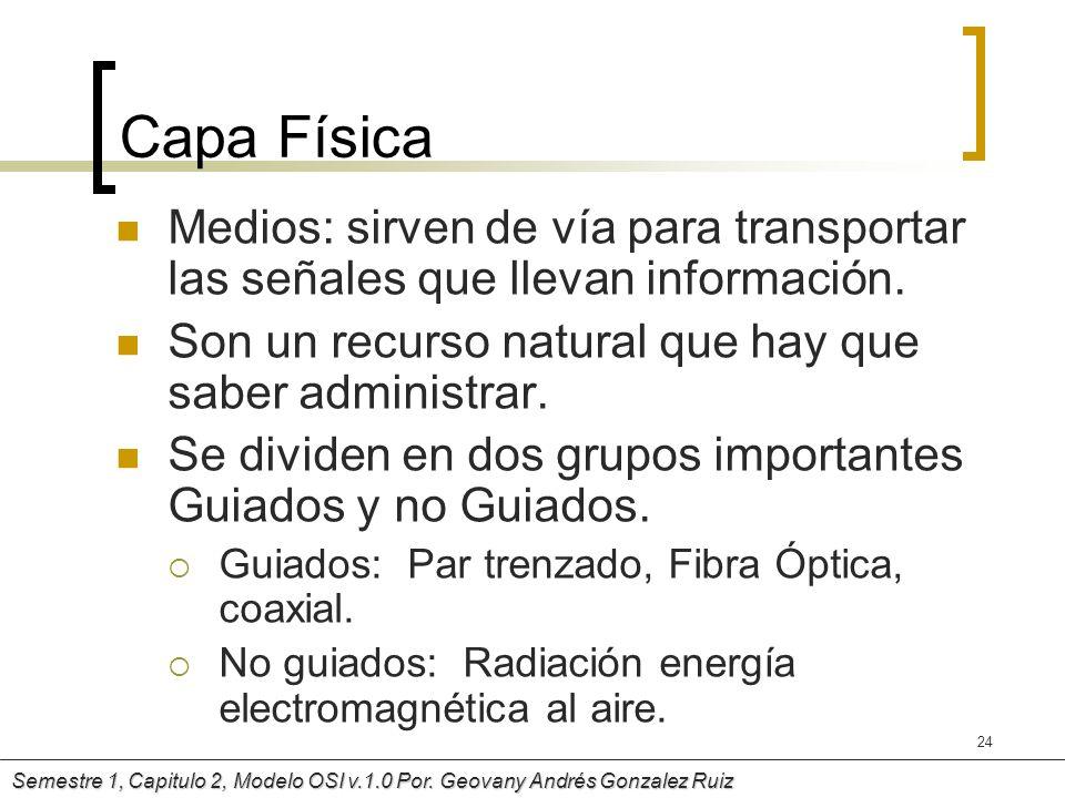Capa FísicaMedios: sirven de vía para transportar las señales que llevan información. Son un recurso natural que hay que saber administrar.