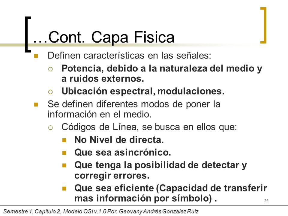 …Cont. Capa Fisica Definen características en las señales: