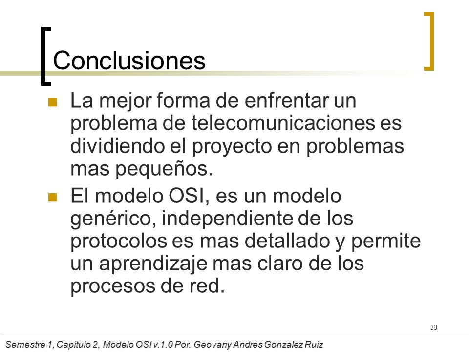 ConclusionesLa mejor forma de enfrentar un problema de telecomunicaciones es dividiendo el proyecto en problemas mas pequeños.
