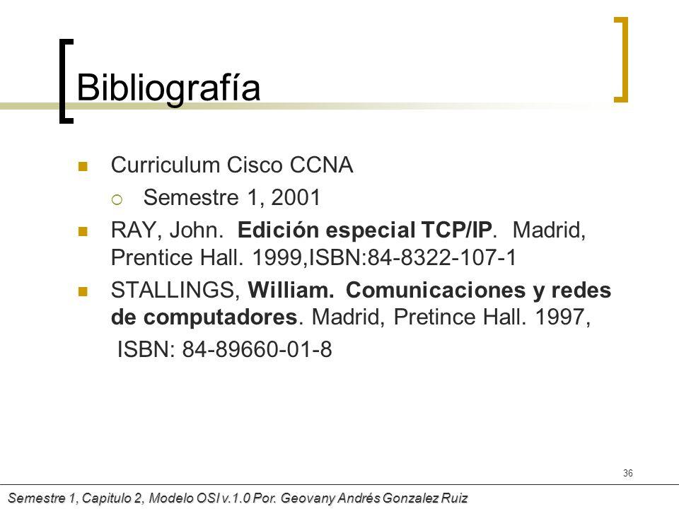 Bibliografía Curriculum Cisco CCNA Semestre 1, 2001