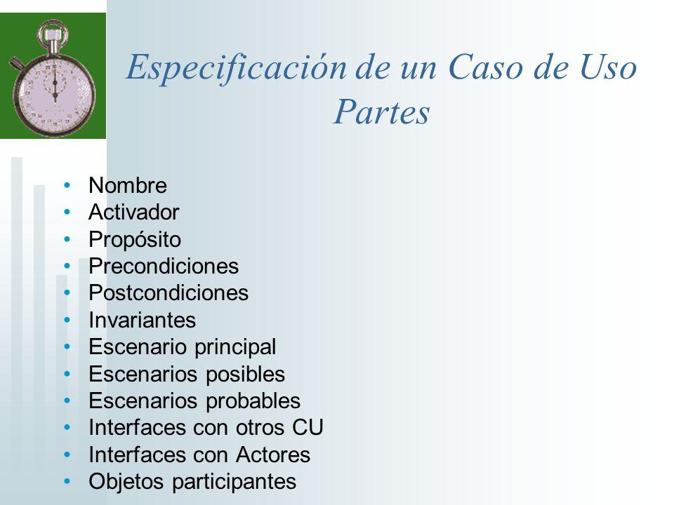 Especificación de un Caso de Uso Partes