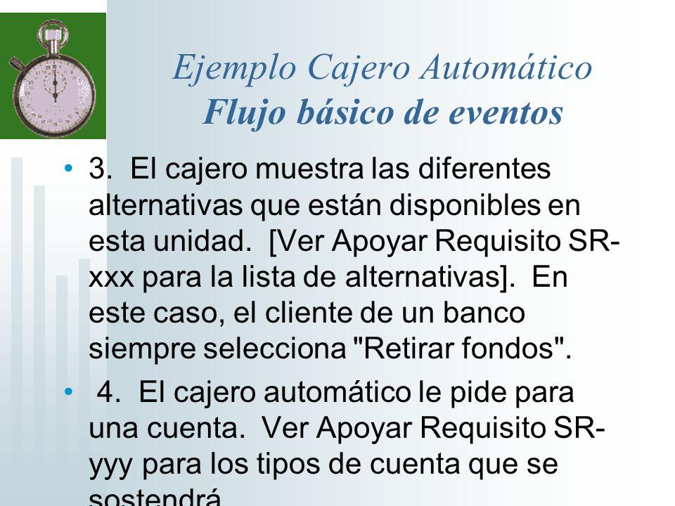 Ejemplo Cajero Automático Flujo básico de eventos