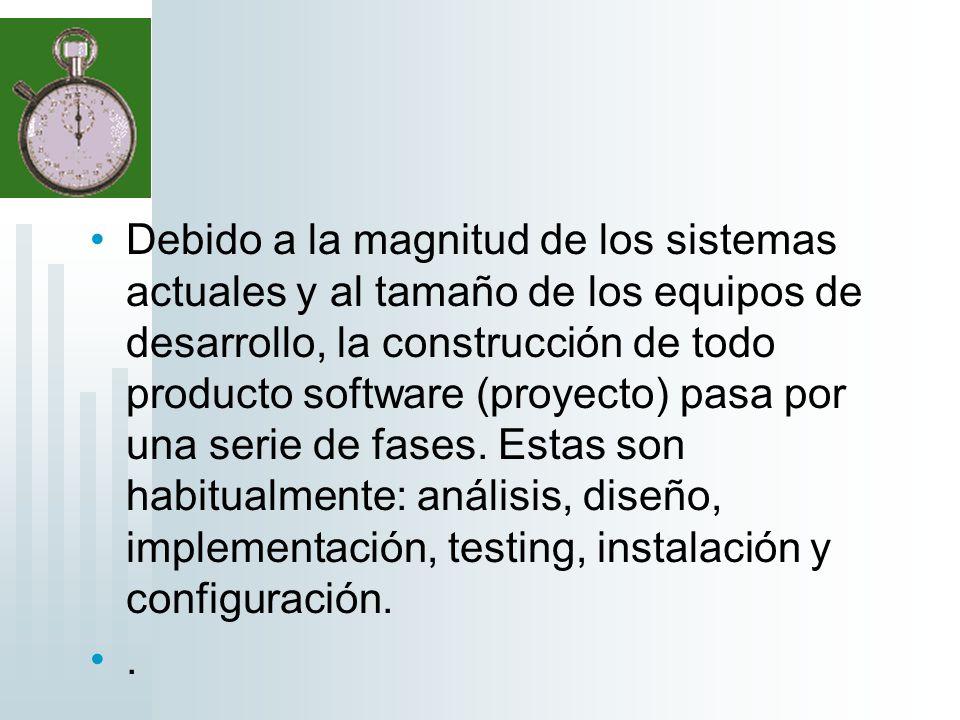 Debido a la magnitud de los sistemas actuales y al tamaño de los equipos de desarrollo, la construcción de todo producto software (proyecto) pasa por una serie de fases. Estas son habitualmente: análisis, diseño, implementación, testing, instalación y configuración.