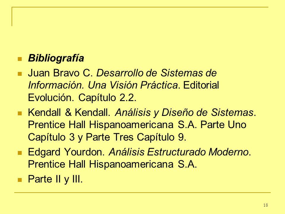 Bibliografía Juan Bravo C. Desarrollo de Sistemas de Información. Una Visión Práctica. Editorial Evolución. Capítulo 2.2.