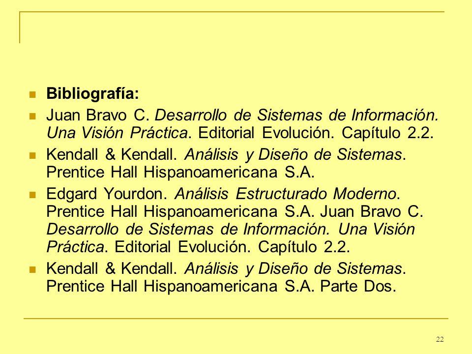Bibliografía: Juan Bravo C. Desarrollo de Sistemas de Información. Una Visión Práctica. Editorial Evolución. Capítulo 2.2.