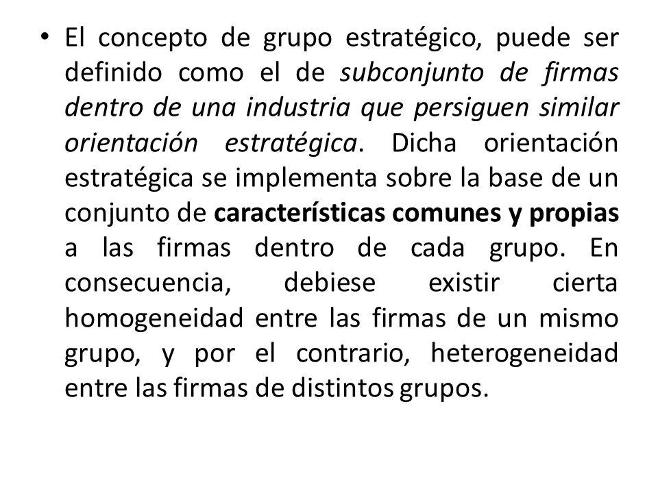 El concepto de grupo estratégico, puede ser definido como el de subconjunto de firmas dentro de una industria que persiguen similar orientación estratégica.
