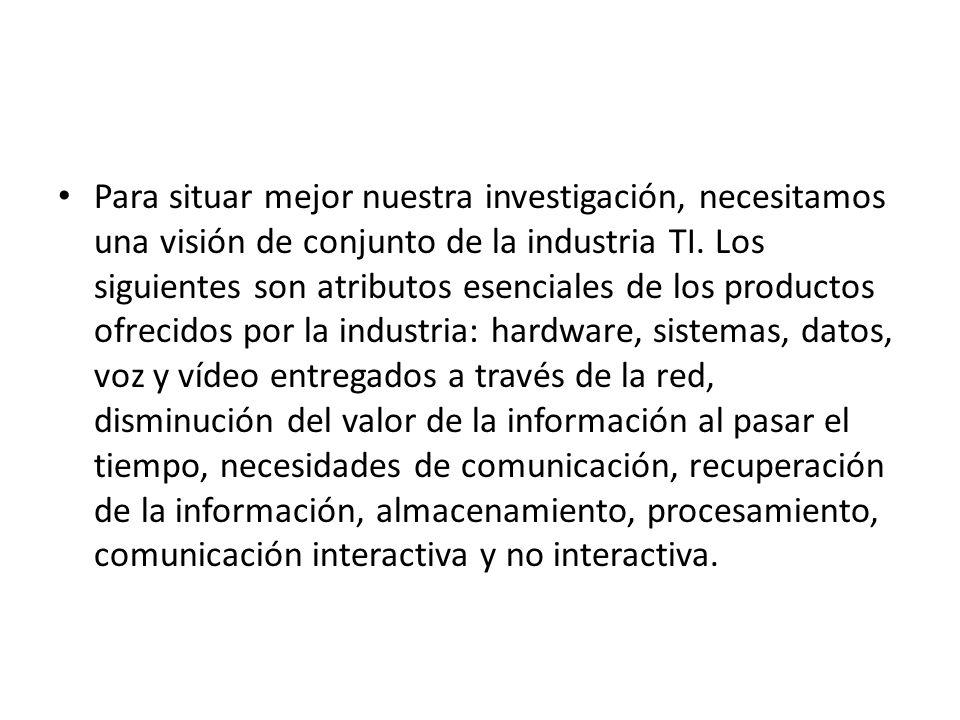 Para situar mejor nuestra investigación, necesitamos una visión de conjunto de la industria TI.