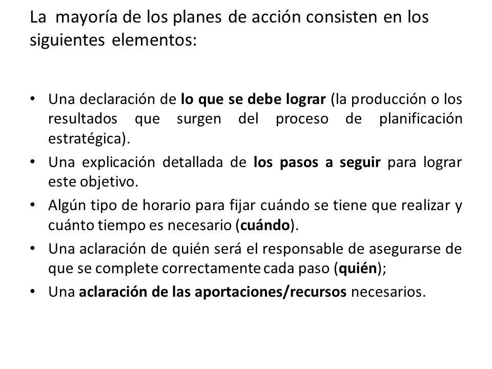 La mayoría de los planes de acción consisten en los siguientes elementos: