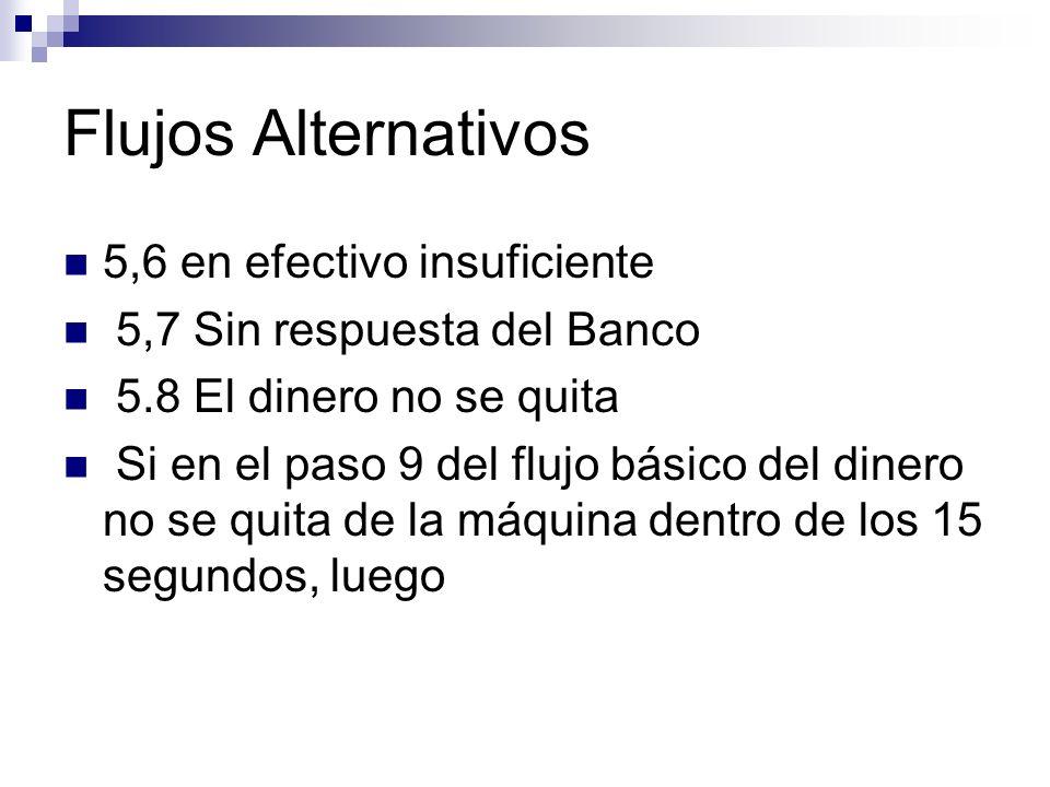 Flujos Alternativos 5,6 en efectivo insuficiente