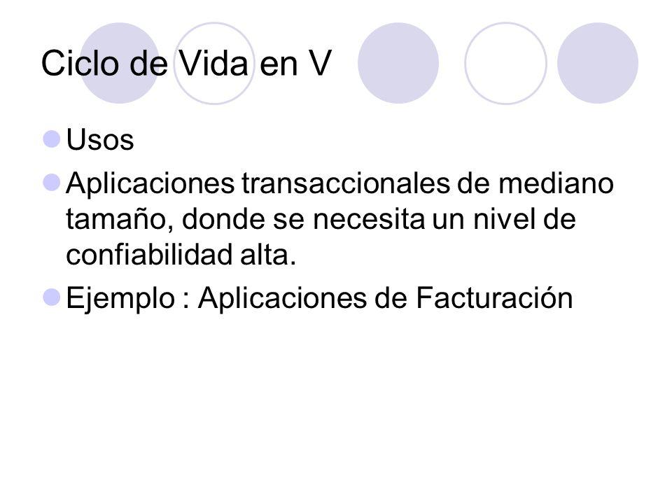 Ciclo de Vida en V Usos. Aplicaciones transaccionales de mediano tamaño, donde se necesita un nivel de confiabilidad alta.