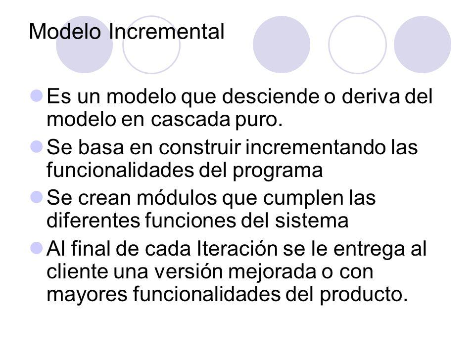 Modelo IncrementalEs un modelo que desciende o deriva del modelo en cascada puro.