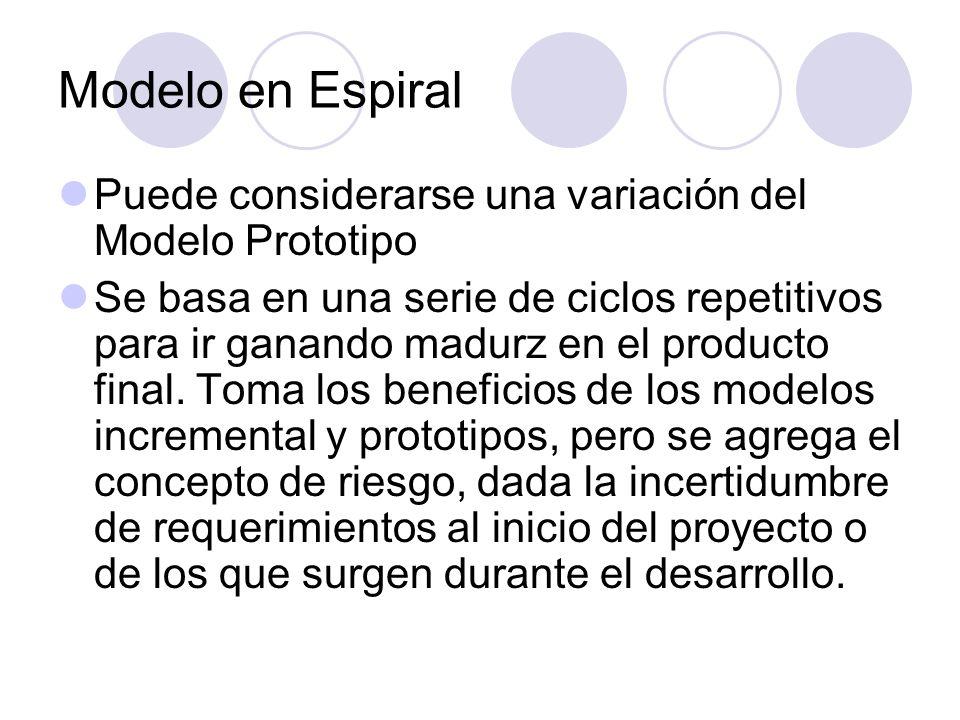Modelo en Espiral Puede considerarse una variación del Modelo Prototipo.
