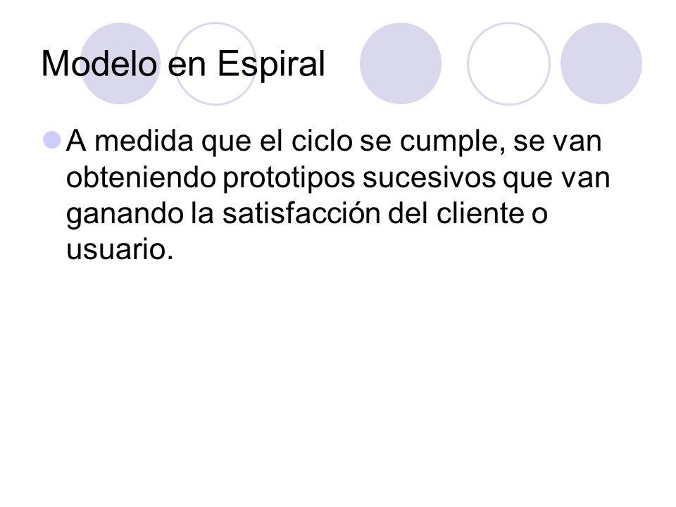 Modelo en EspiralA medida que el ciclo se cumple, se van obteniendo prototipos sucesivos que van ganando la satisfacción del cliente o usuario.
