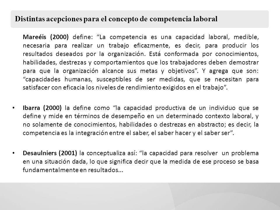 Distintas acepciones para el concepto de competencia laboral