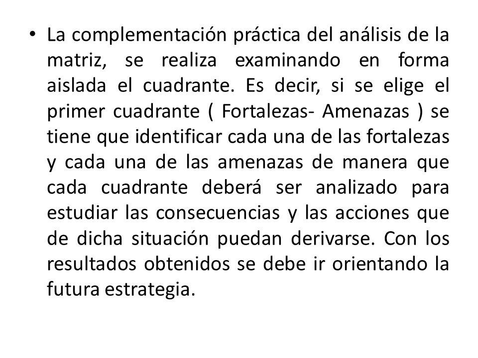 La complementación práctica del análisis de la matriz, se realiza examinando en forma aislada el cuadrante.