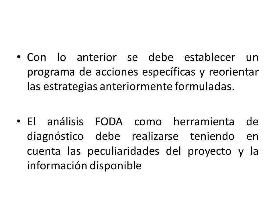 Con lo anterior se debe establecer un programa de acciones específicas y reorientar las estrategias anteriormente formuladas.