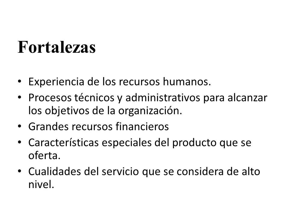 Fortalezas Experiencia de los recursos humanos.