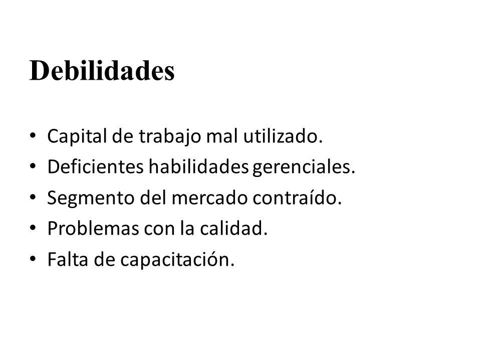 Debilidades Capital de trabajo mal utilizado.