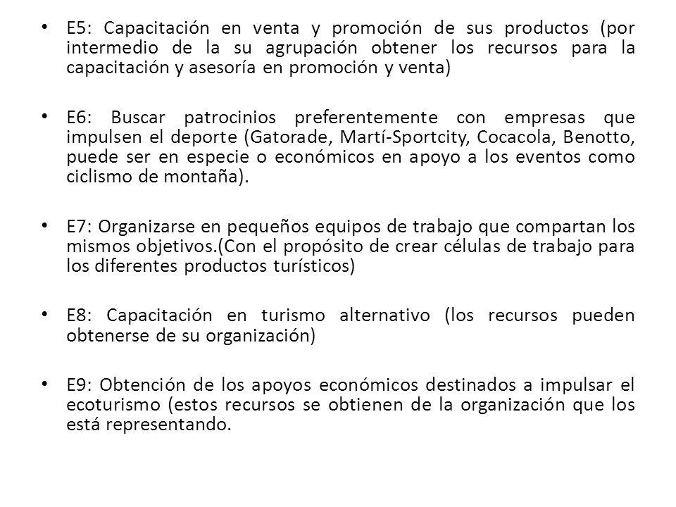 E5: Capacitación en venta y promoción de sus productos (por intermedio de la su agrupación obtener los recursos para la capacitación y asesoría en promoción y venta)