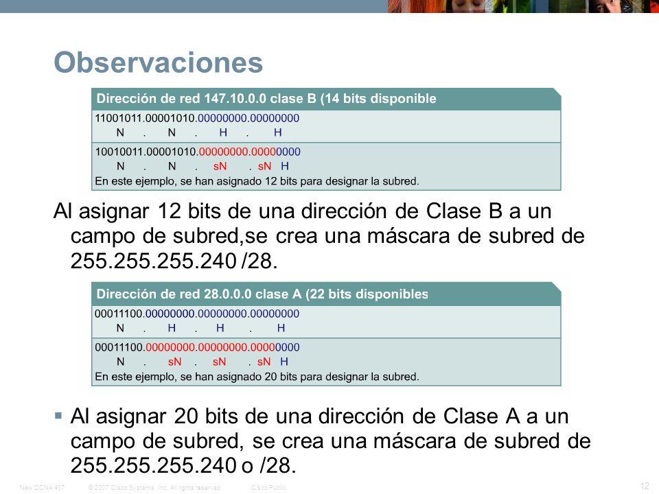 ObservacionesAl asignar 12 bits de una dirección de Clase B a un campo de subred,se crea una máscara de subred de 255.255.255.240 /28.