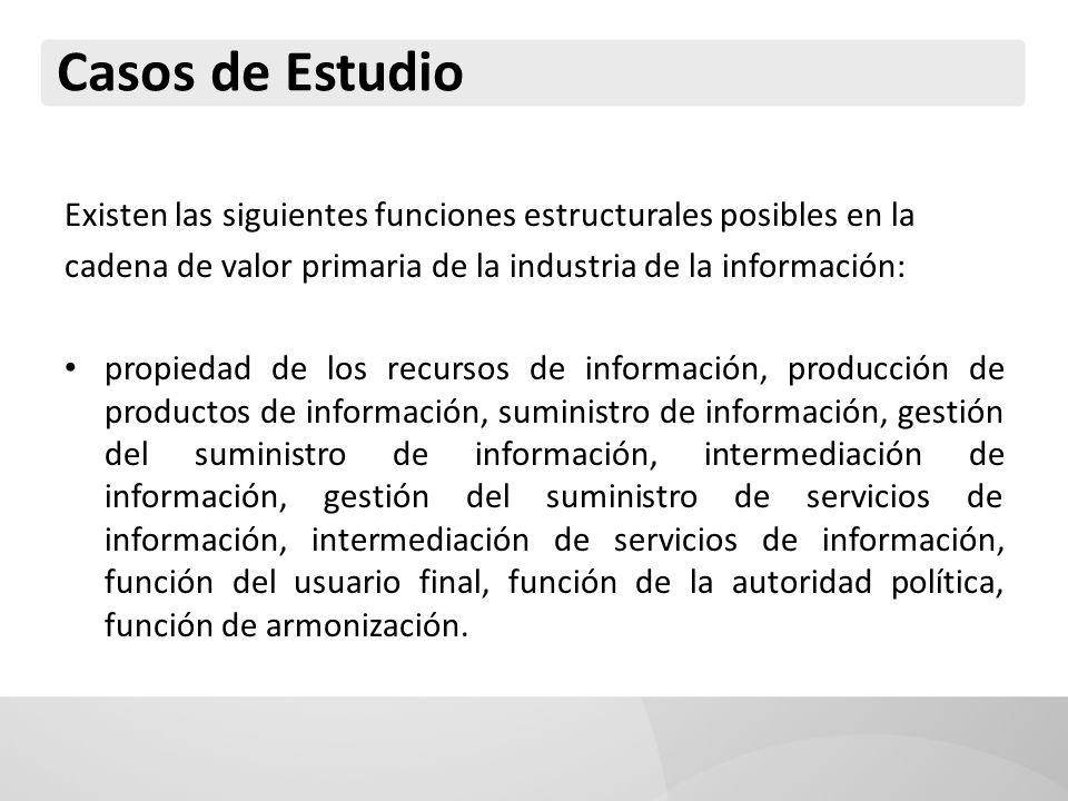 Casos de Estudio Existen las siguientes funciones estructurales posibles en la. cadena de valor primaria de la industria de la información: