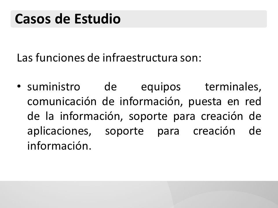 Casos de Estudio Las funciones de infraestructura son: