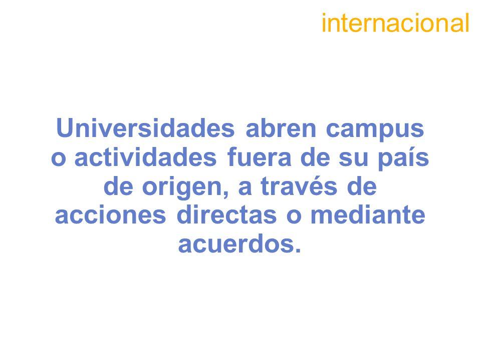 internacional Universidades abren campus o actividades fuera de su país de origen, a través de acciones directas o mediante acuerdos.
