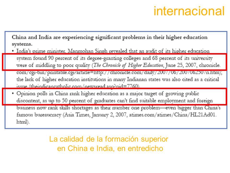 internacional La calidad de la formación superior