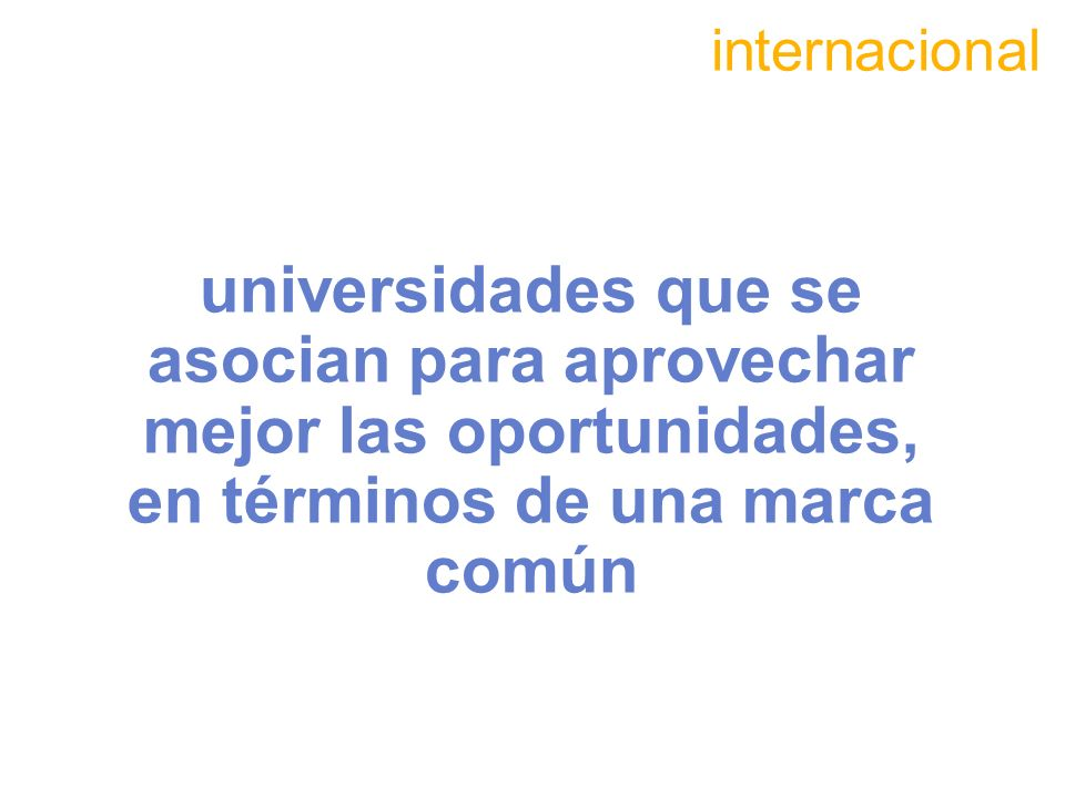 internacionaluniversidades que se asocian para aprovechar mejor las oportunidades, en términos de una marca común.