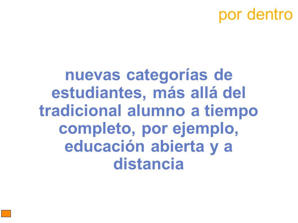 por dentro nuevas categorías de estudiantes, más allá del tradicional alumno a tiempo completo, por ejemplo, educación abierta y a distancia.
