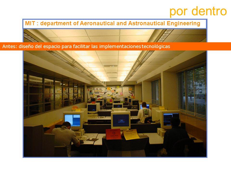 por dentroMIT : department of Aeronautical and Astronautical Engineering. Antes: diseño del espacio para facilitar las implementaciones tecnológicas.