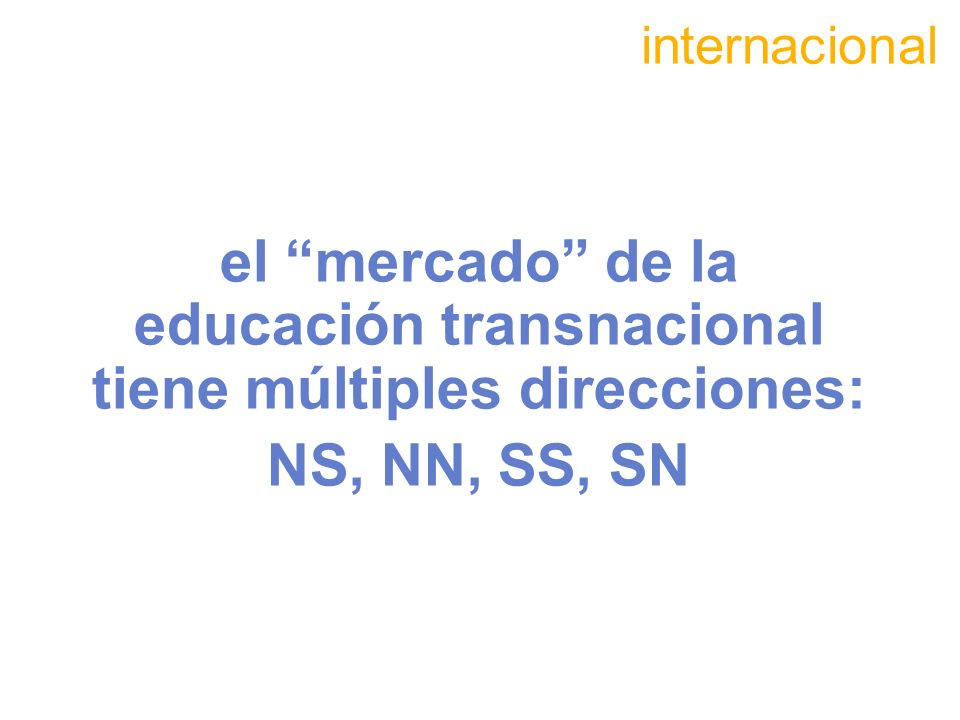 internacional el mercado de la educación transnacional tiene múltiples direcciones: NS, NN, SS, SN.