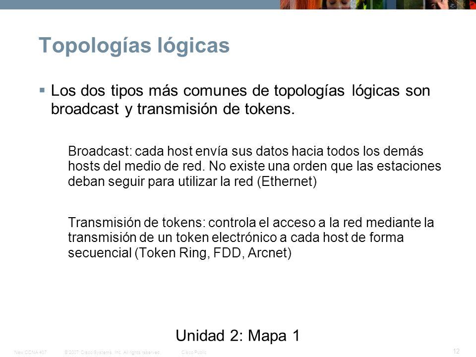 Topologías lógicas Los dos tipos más comunes de topologías lógicas son broadcast y transmisión de tokens.