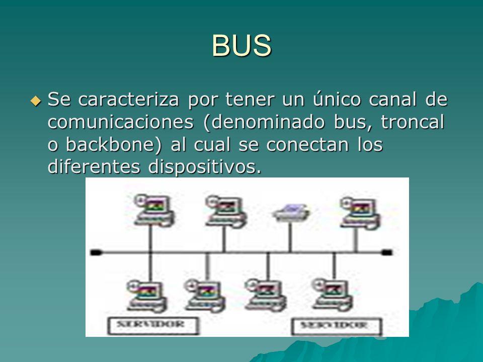 BUS Se caracteriza por tener un único canal de comunicaciones (denominado bus, troncal o backbone) al cual se conectan los diferentes dispositivos.