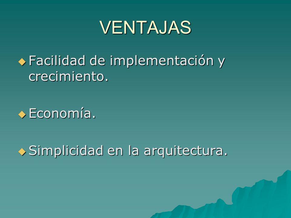 VENTAJAS Facilidad de implementación y crecimiento. Economía.