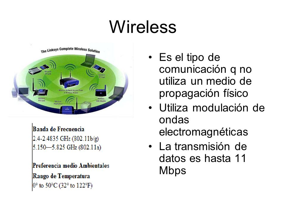 Wireless Es el tipo de comunicación q no utiliza un medio de propagación físico. Utiliza modulación de ondas electromagnéticas.