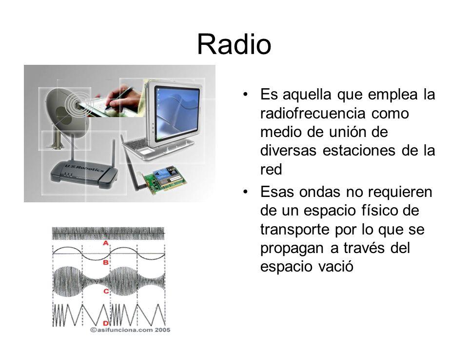 RadioEs aquella que emplea la radiofrecuencia como medio de unión de diversas estaciones de la red.