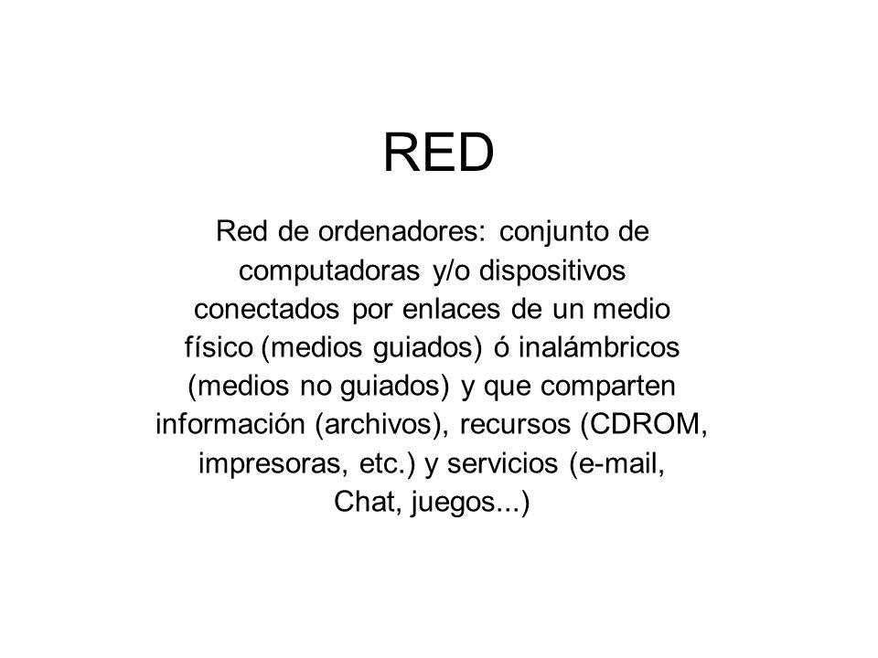 RED Red de ordenadores: conjunto de computadoras y/o dispositivos