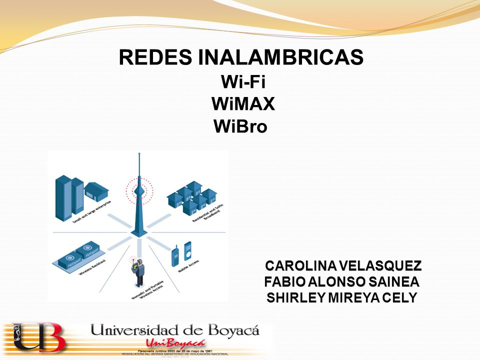 REDES INALAMBRICAS Wi-Fi WiMAX WiBro CAROLINA VELASQUEZ