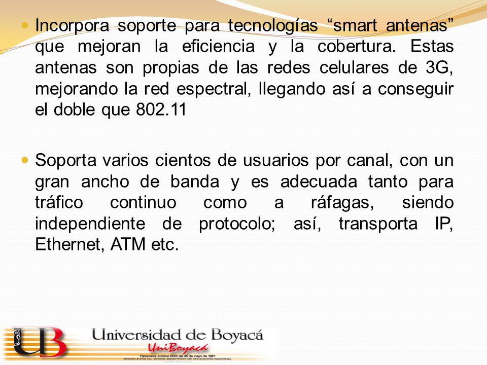 Incorpora soporte para tecnologías smart antenas que mejoran la eficiencia y la cobertura. Estas antenas son propias de las redes celulares de 3G, mejorando la red espectral, llegando así a conseguir el doble que 802.11