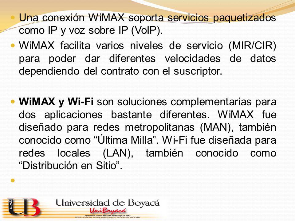 Una conexión WiMAX soporta servicios paquetizados como IP y voz sobre IP (VoIP).