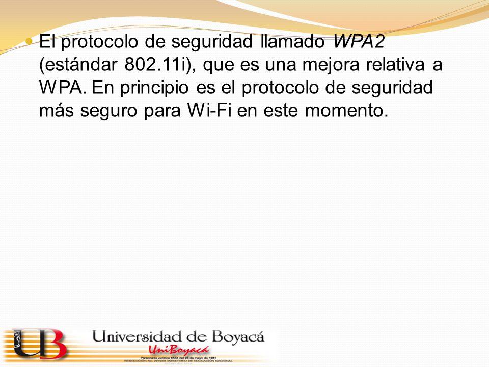 El protocolo de seguridad llamado WPA2 (estándar 802