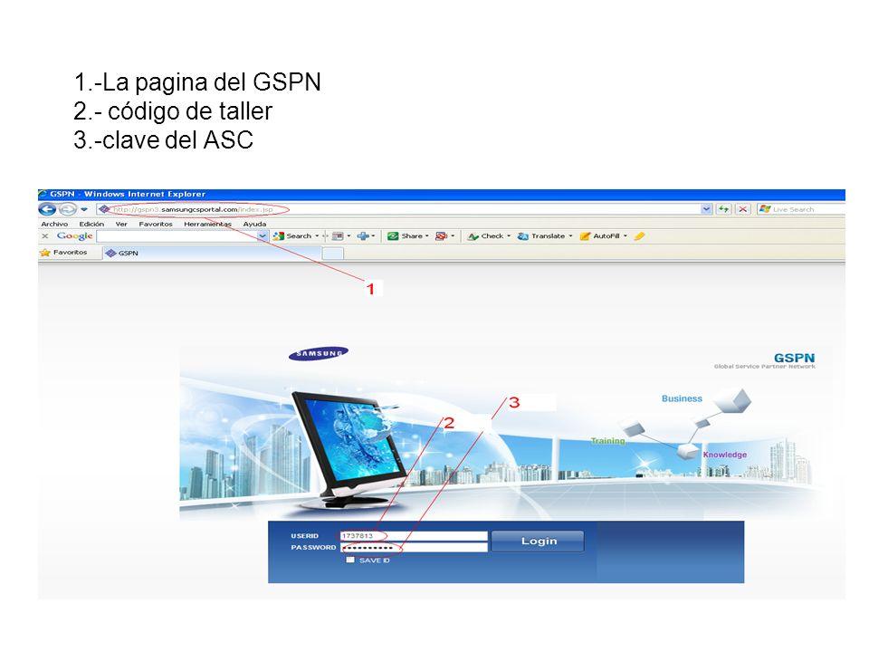 1.-La pagina del GSPN 2.- código de taller 3.-clave del ASC